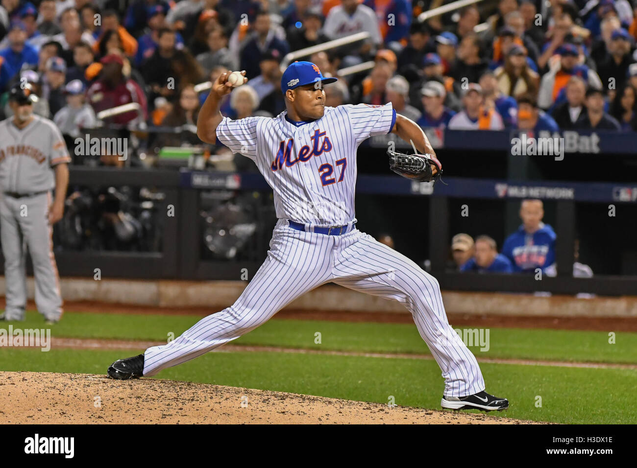 Flushing, New York, Stati Uniti d'America. 5 Ottobre, 2016. Jeurys Familia (METS) MLB : Jeurys Familia dei New Immagini Stock