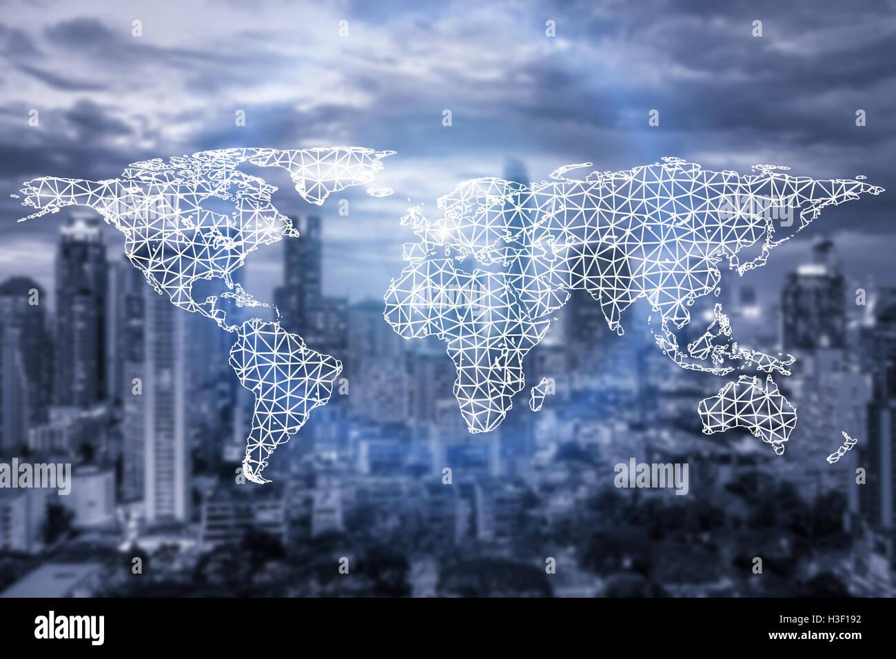 La connessione di rete e di partenariato mappa del mondo con la città in connessione background.Network concetto Immagini Stock