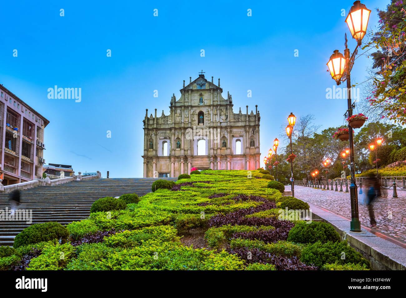 Le Rovine di San Paolo a Macao. Immagini Stock