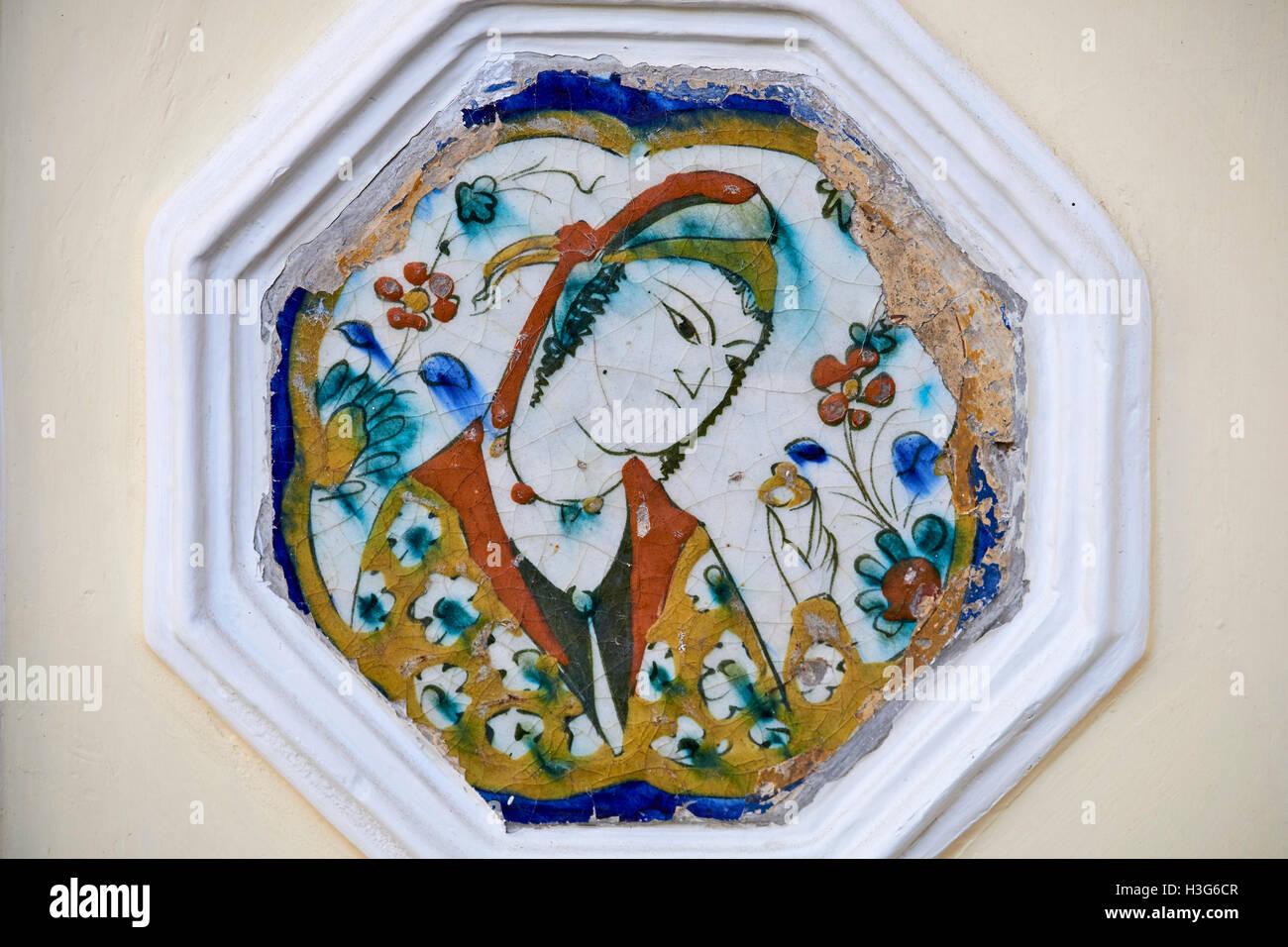 Iran, Teheran Moghadam museum, la decorazione di piastrelle in tradizionale casa Immagini Stock