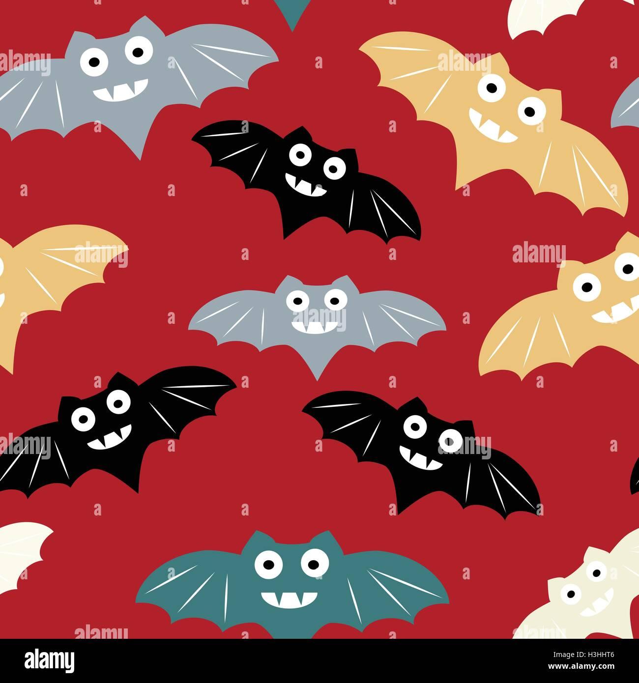 Halloween Modello Senza Cuciture Con Colorati Bat Bellissimo Sfondo