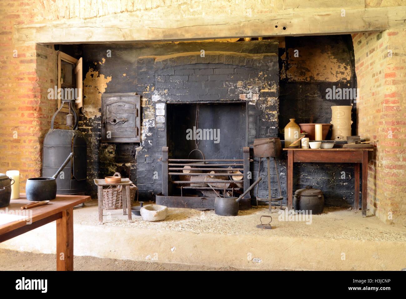 Il camino in cucina a Denny Abbey, Cambridgeshire Foto & Immagine ...