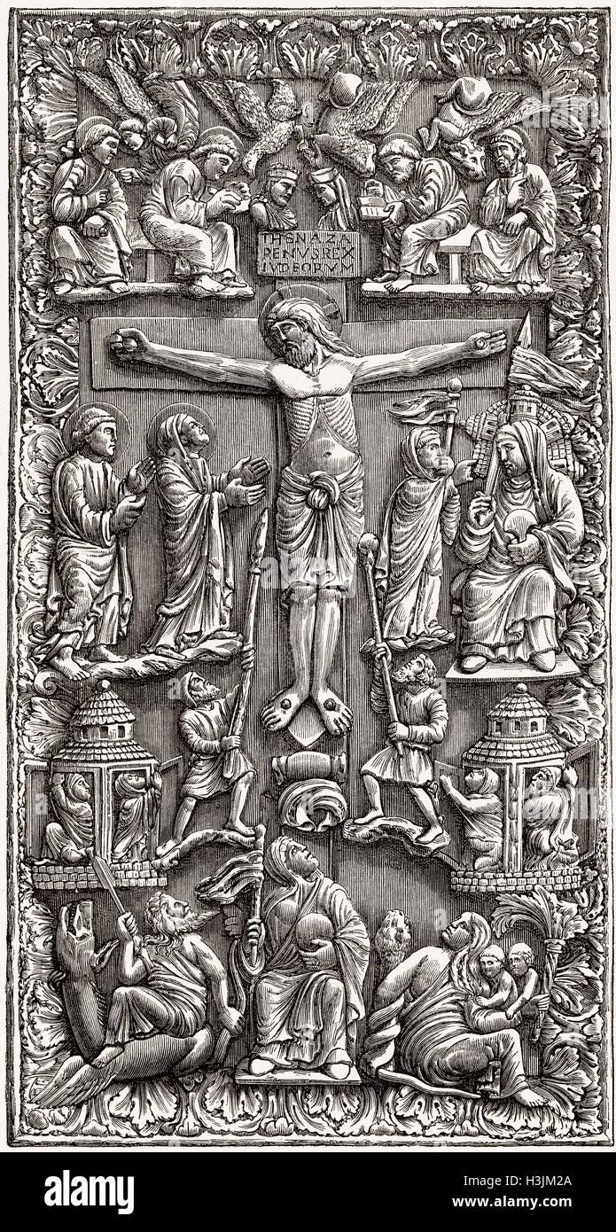 Ornata avorio copertina di un libro cristiano Immagini Stock