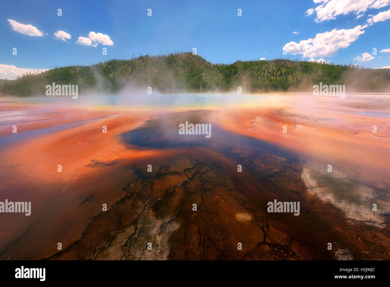Bellissimo il cerulean geyser Grand Prismatic Spring nel Parco Nazionale di Yellowstone Immagini Stock