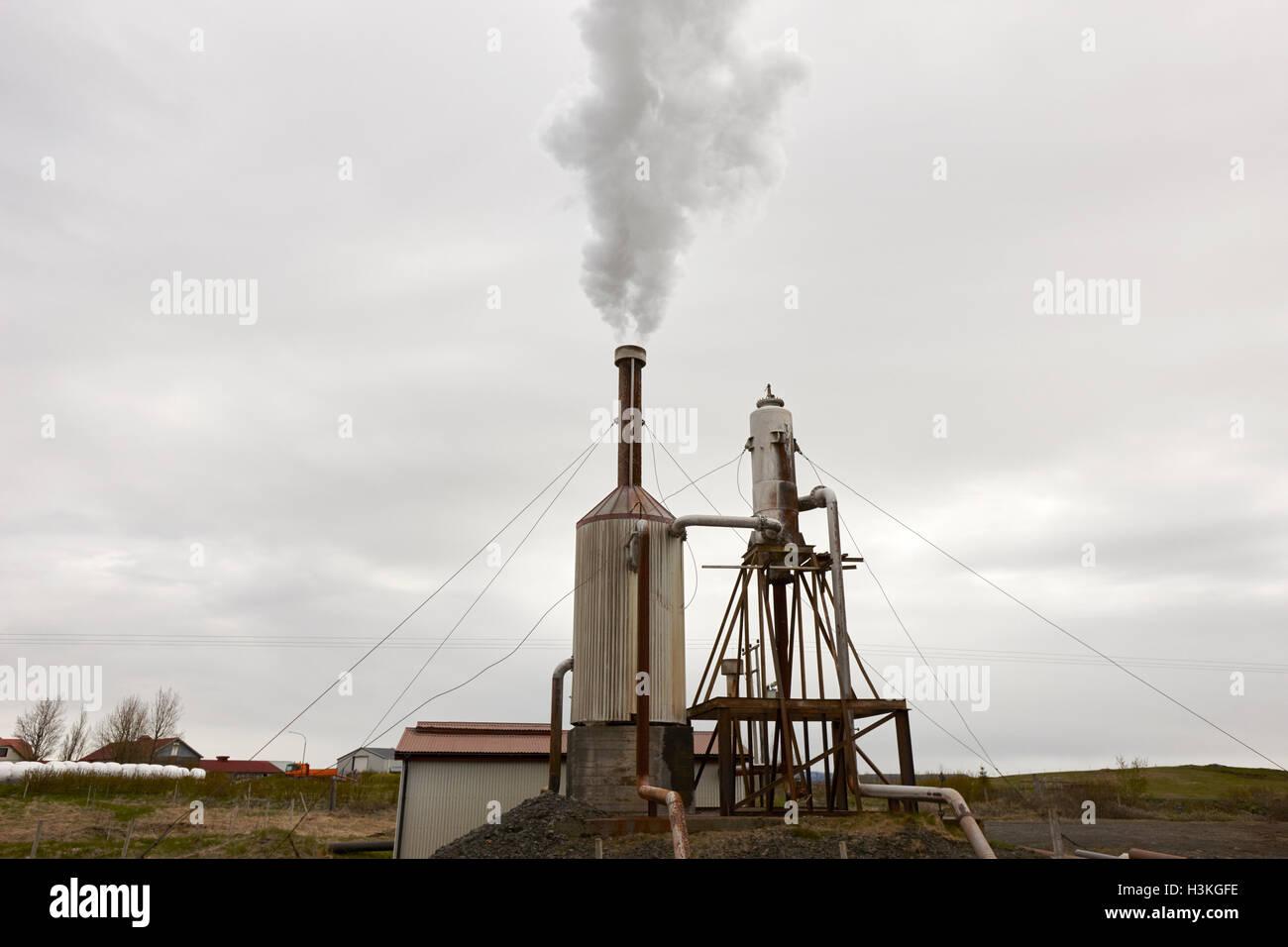 Piccola comunità rurale energia geotermica impianto sud rurale Islanda Immagini Stock
