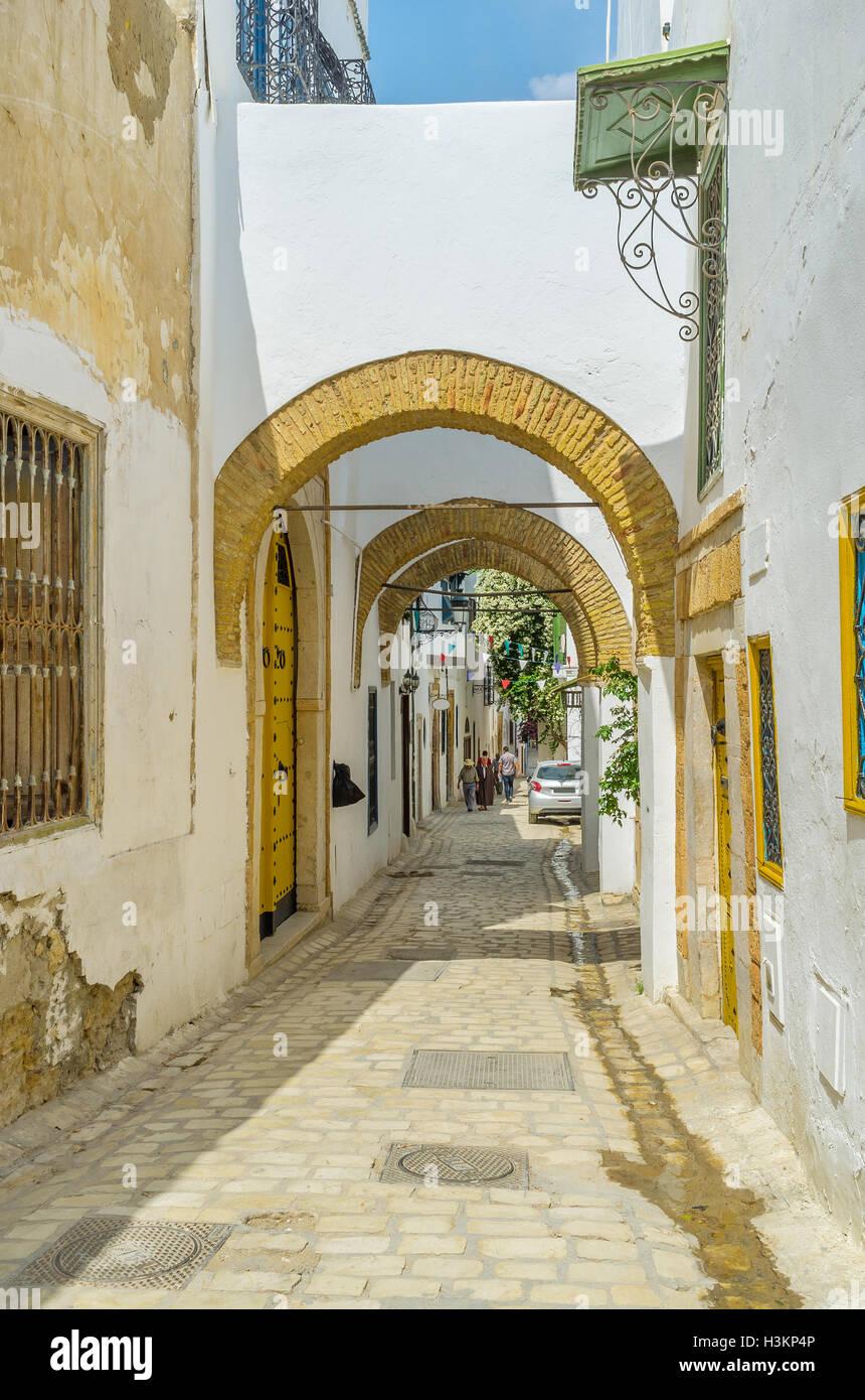 La capitale della Tunisia vanta ben conservate della città araba di Tunisi. Immagini Stock