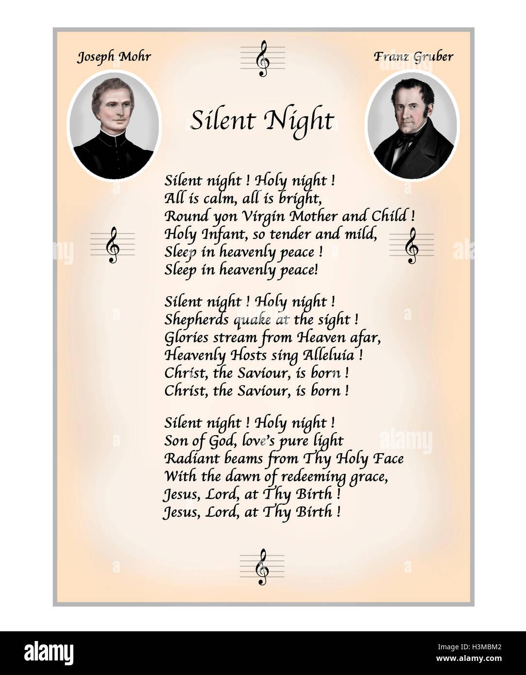 Notte silenziosa. Testo in inglese. Illustrazione moderna con ritratti del poeta Giuseppe Mohr e del compositore Immagini Stock