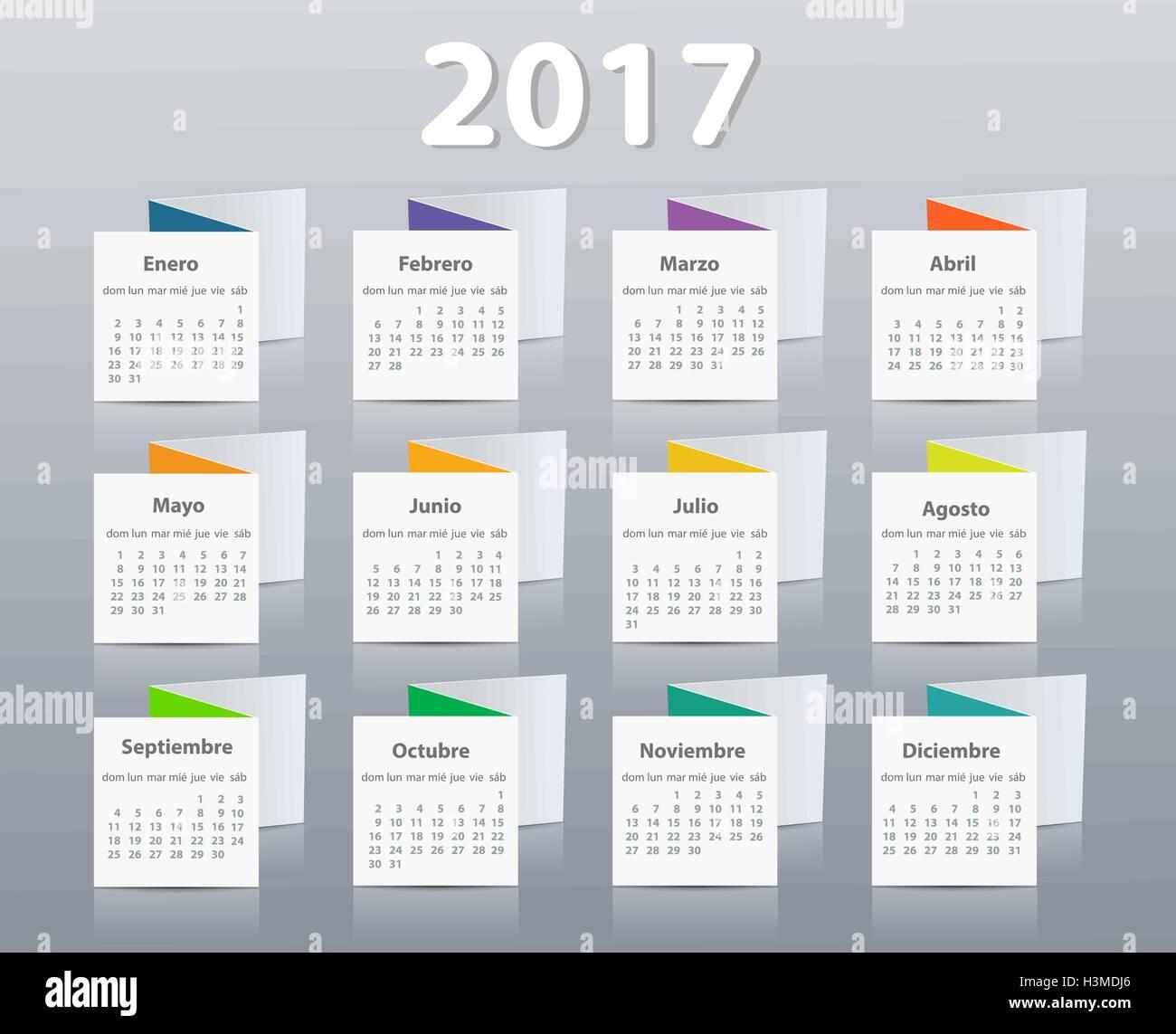 Calendario Anno 2017.Calendario Anno 2017 Vettore Modello Di Progettazione In
