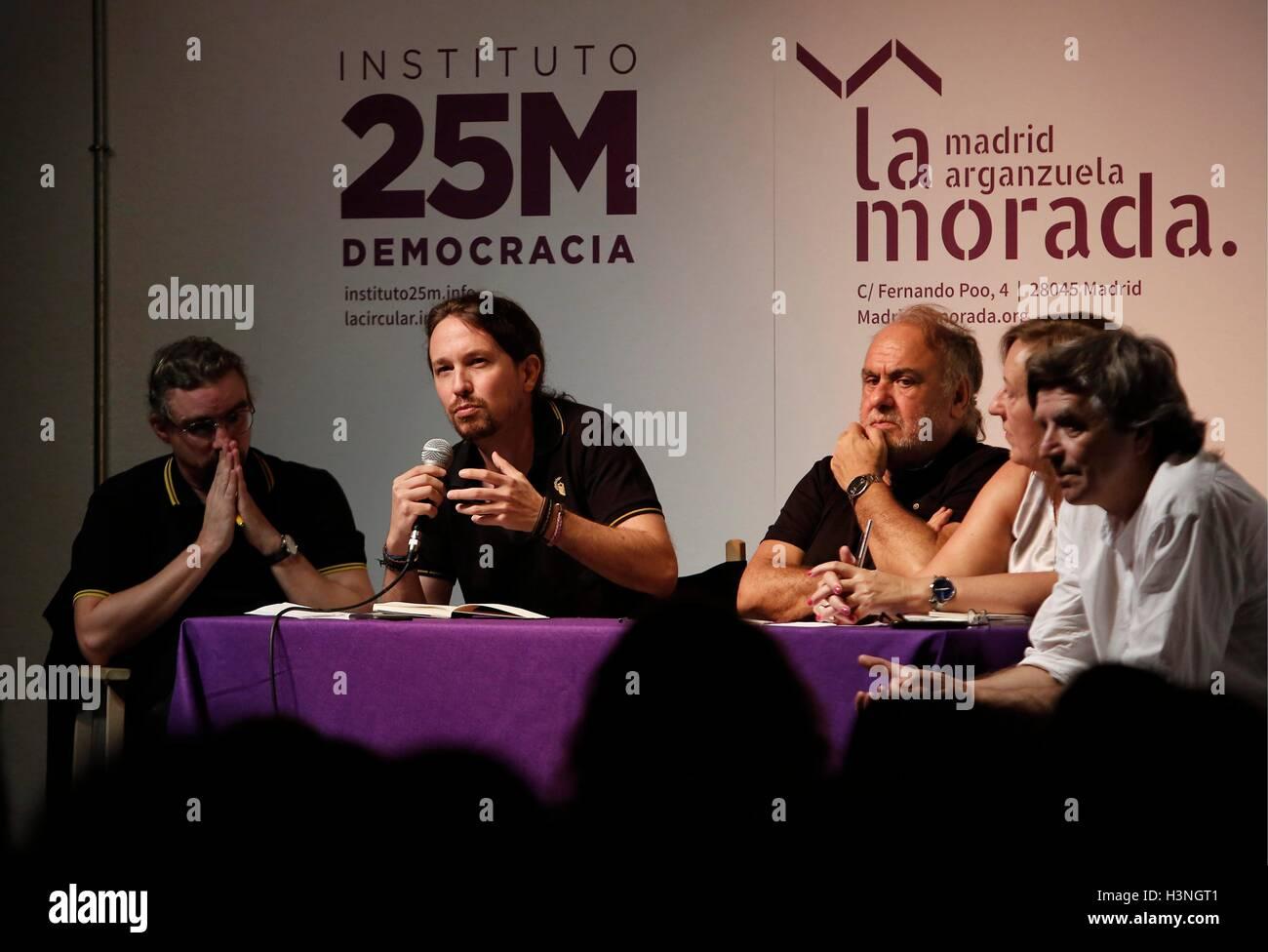 El Secretario Generale de Podemos, Pablo Iglesias, duranti la Presentacion de onu libro de Jorge Aleman, en Madrid Immagini Stock