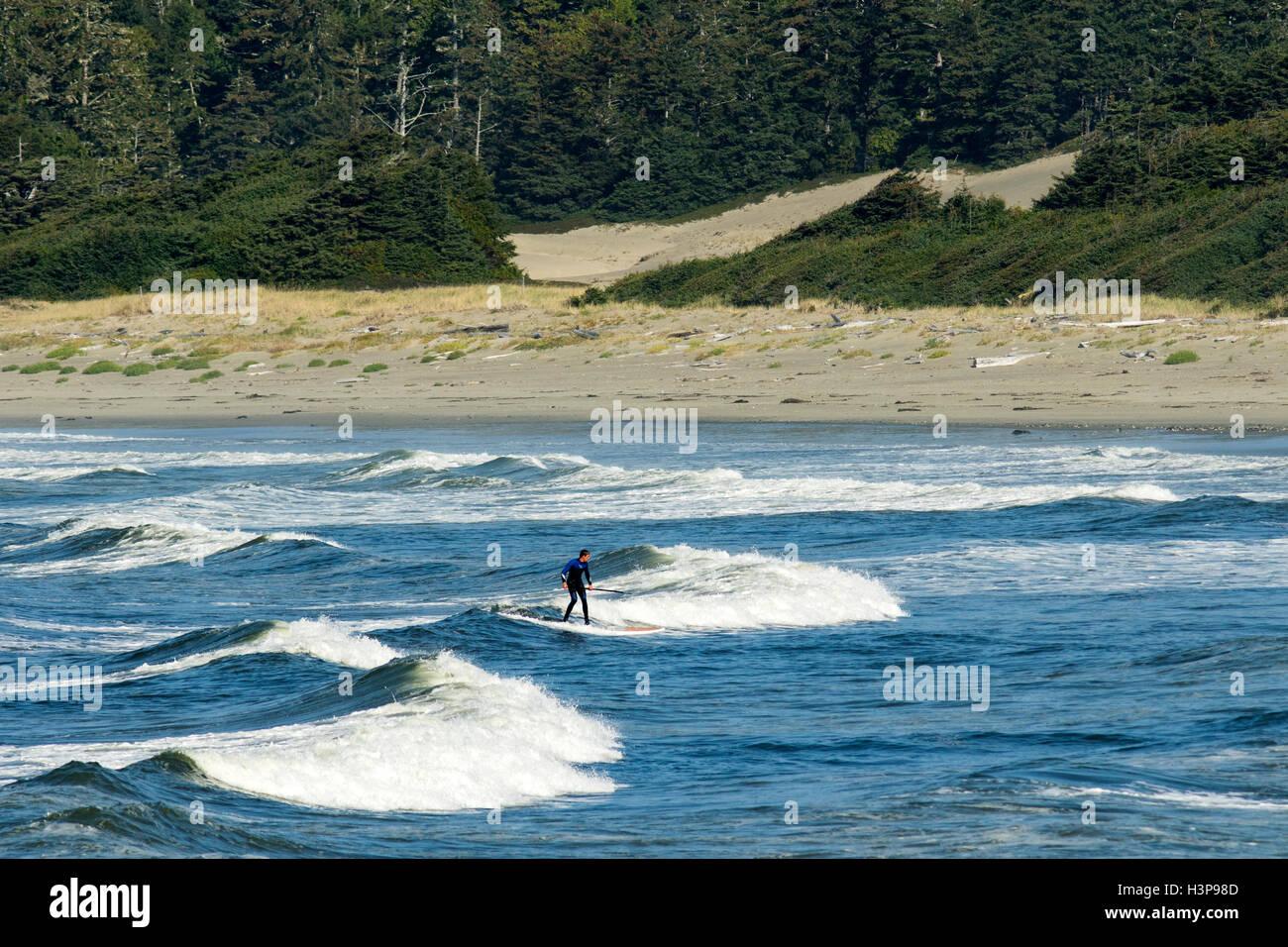 Paddleboard Surfer il Wickaninnish Beach - Tofino, Isola di Vancouver, British Columbia, Canada Immagini Stock