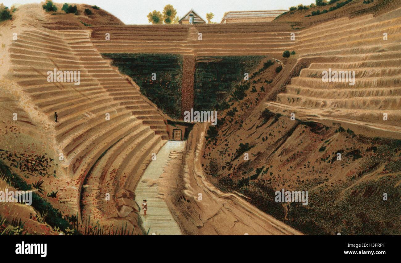 Stato della valle del Messico. Costruzione di un drenaggio per prevenire le alluvioni nella capitale. La litografia, Immagini Stock