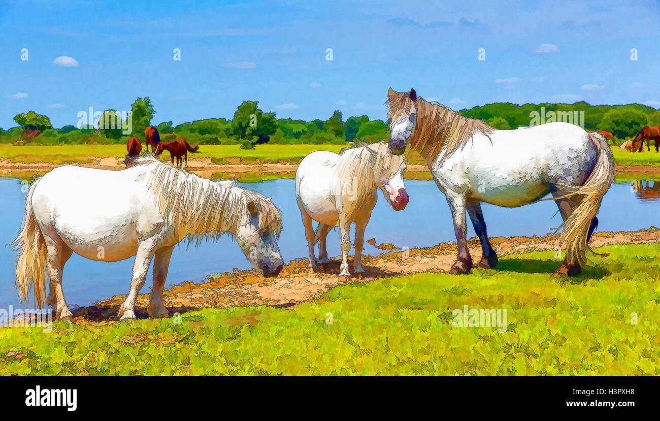 Pony bianco da un lago in colori luminosi Immagini Stock