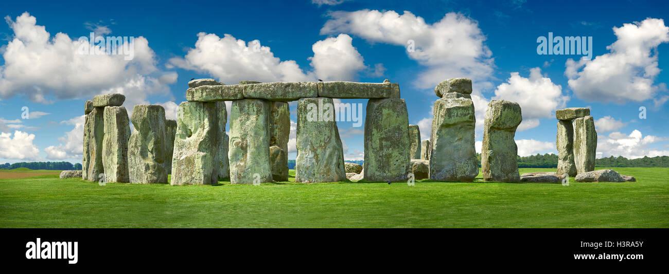 Stonehenge Neolitico antico standing stone circle monumento, Wiltshire, Inghilterra Immagini Stock