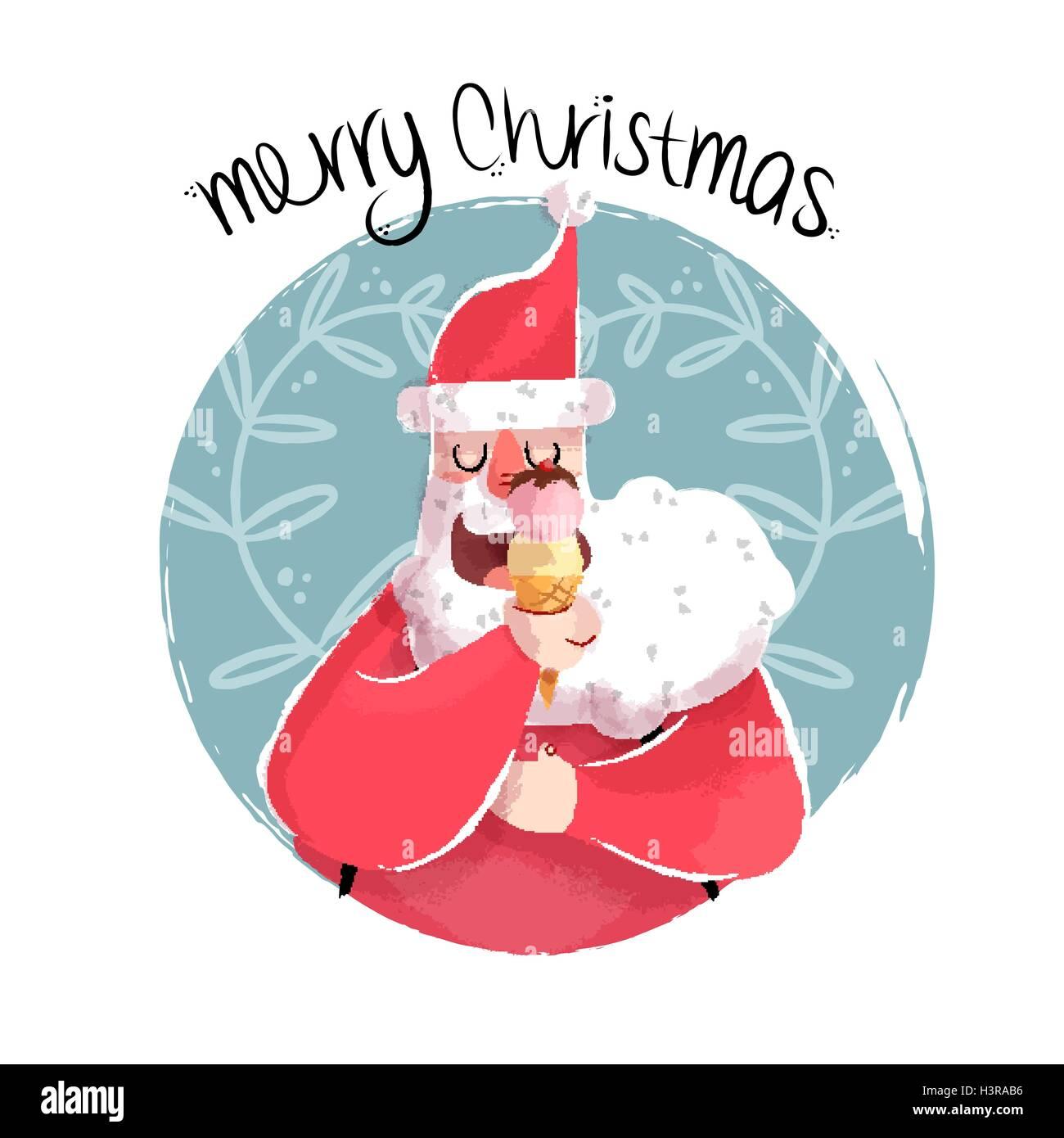 Buon Natale divertente disegnati a mano illustrazione di carino babbo natale  a mangiare il gelato cono. EPS10 vettore.