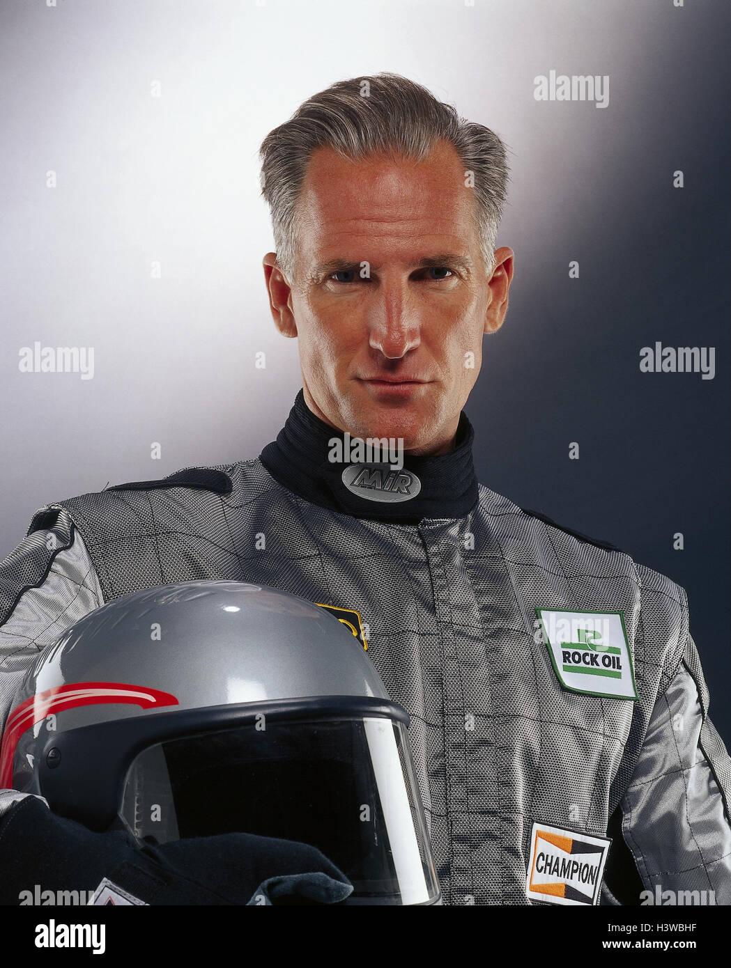 Motor Sport racing driver, complessivamente, casco, argento, ritratto, sport, sport racing, uomo, peli, grigio racing Immagini Stock
