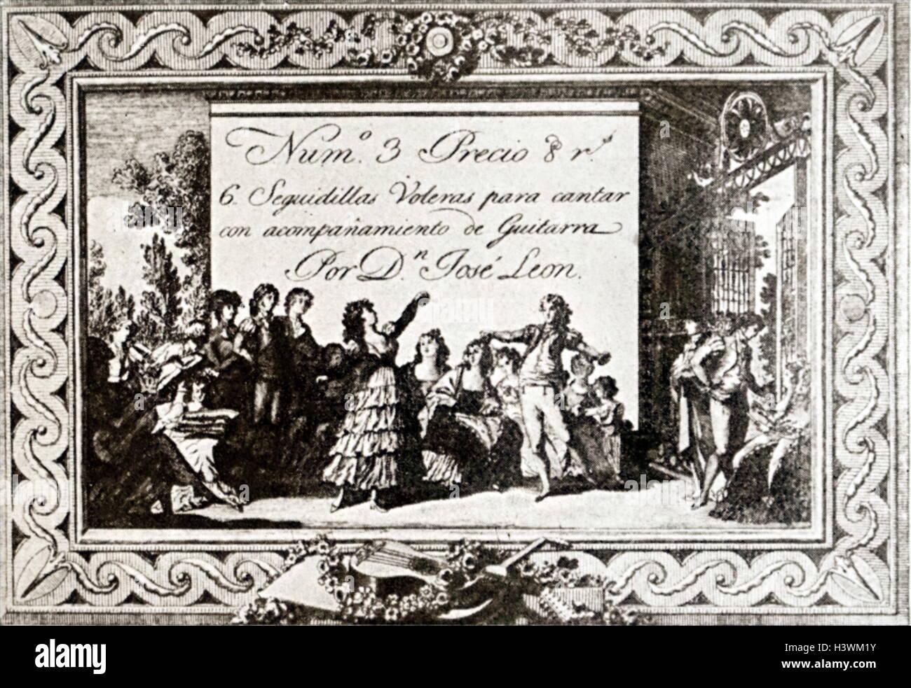 Coperchio stampato di un musicale spagnola. Datata del XIX secolo Immagini Stock