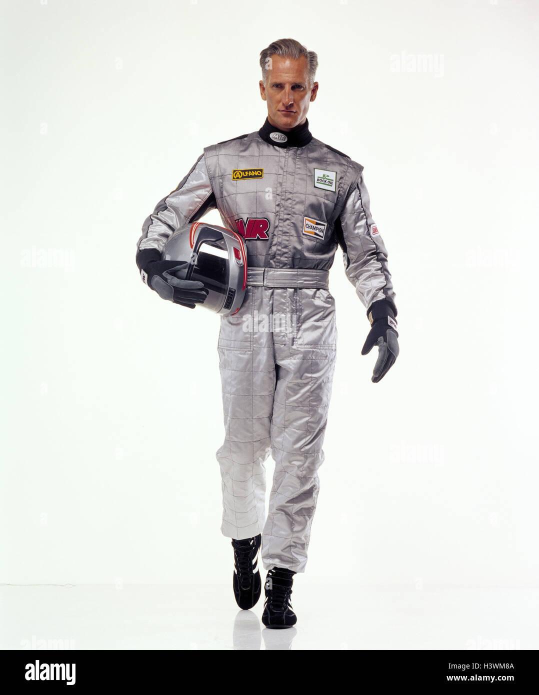 Motor Sport racing driver, complessivamente, casco, argento, movimento go sport, sport racing, uomo racing tuta, Immagini Stock