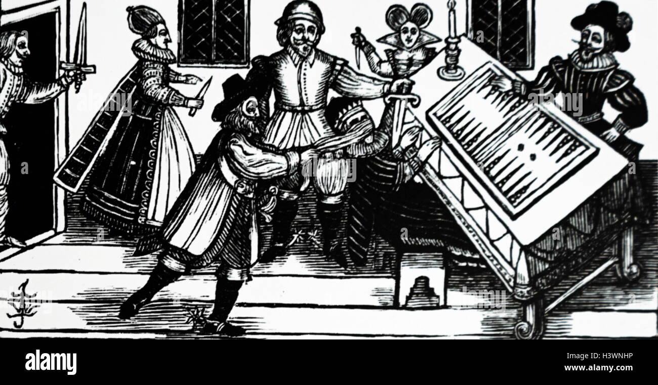 Woodblock stampa raffigurante un killer contratta attaccando. Datata XVI Secolo Immagini Stock