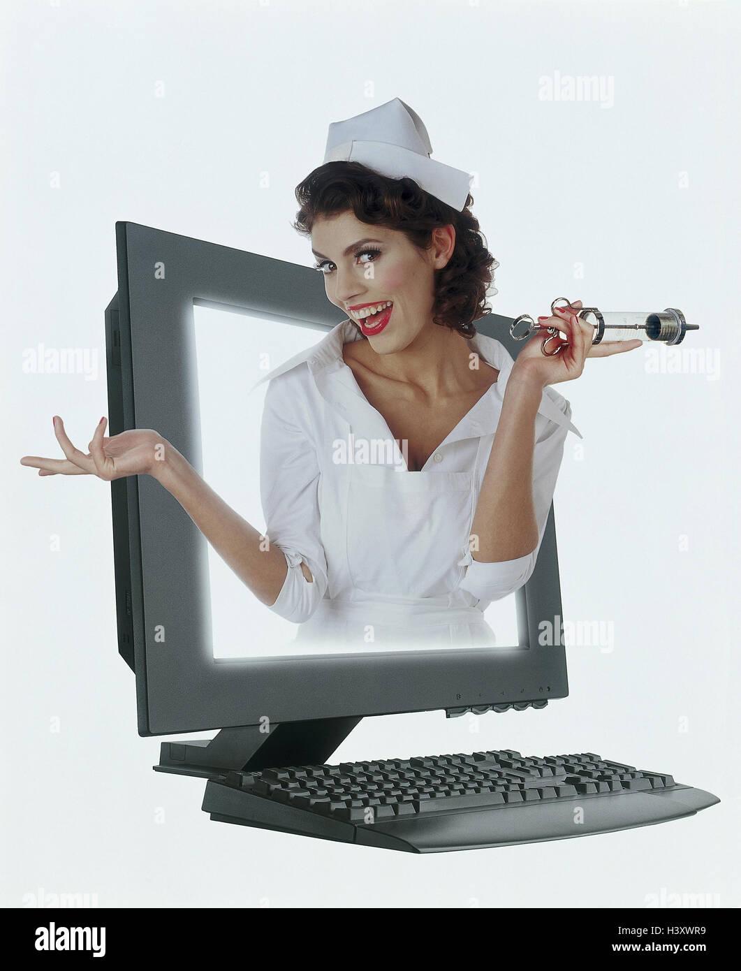 Infermiera, Spüritze, computer, icona, programma antivirus, aiuto per la protezione dai virus, concezione, Immagini Stock