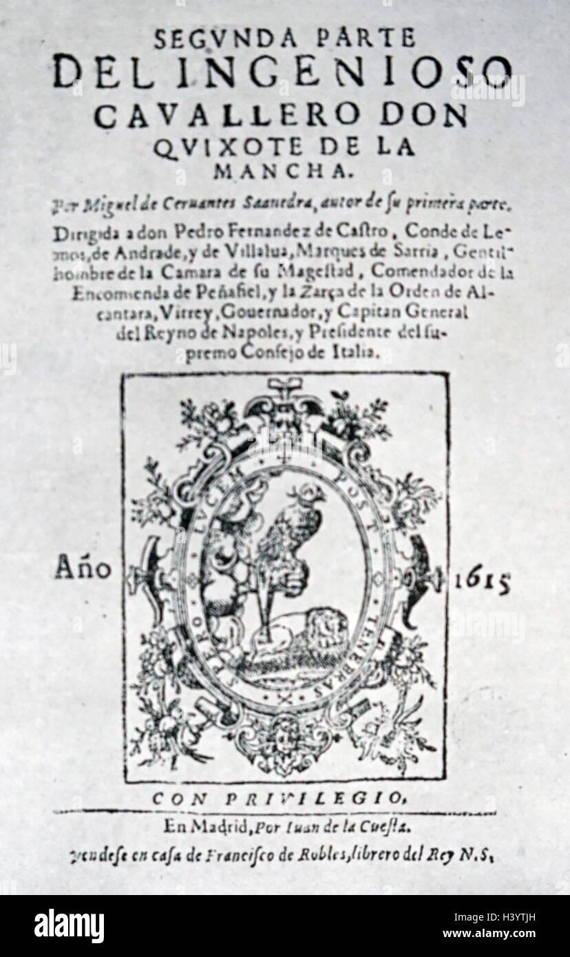 Coperchio del princeps edizione del secondo volume di Don Chisciotte di Miguel de Cervantes Immagini Stock