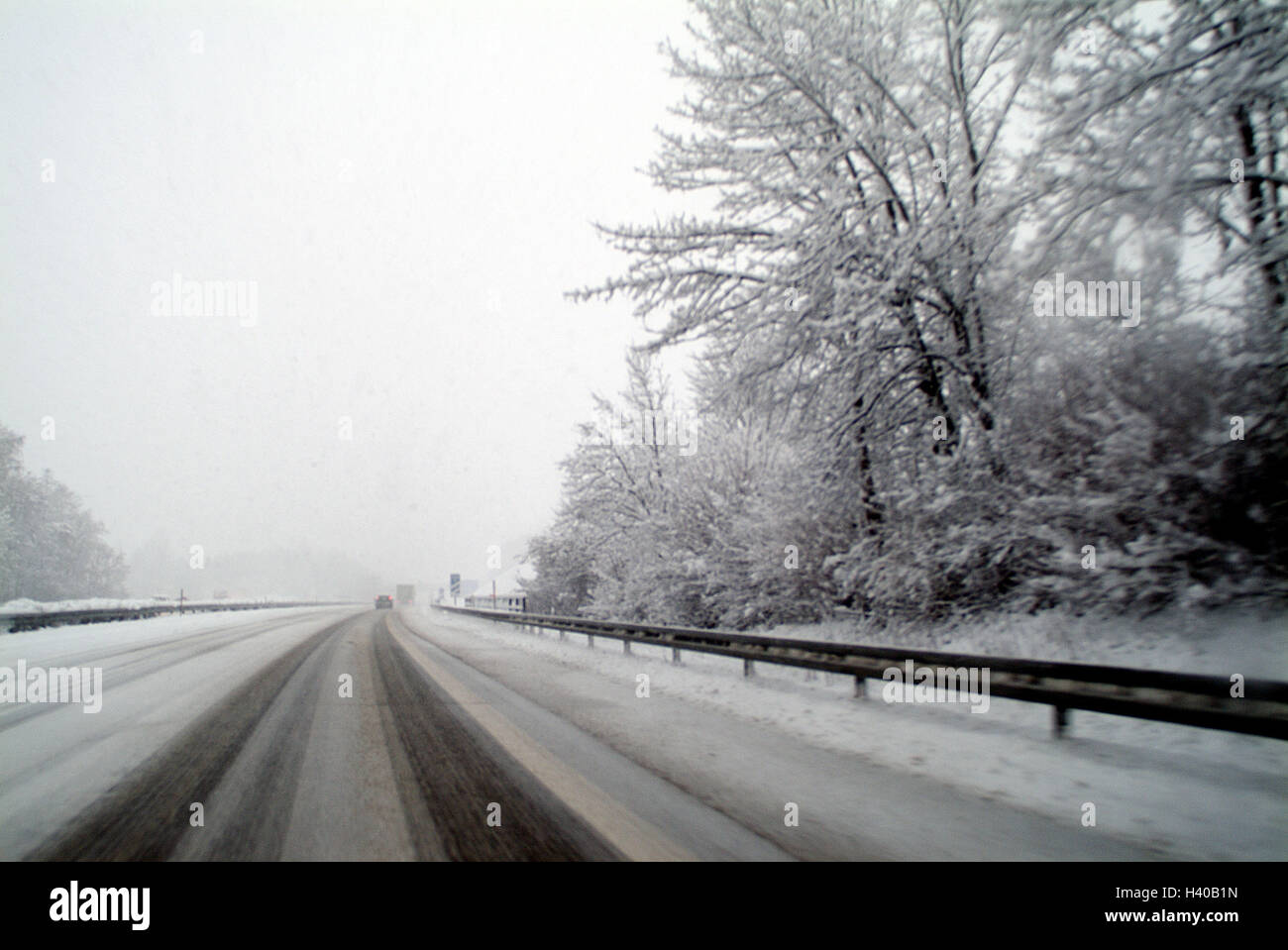Autostrada, strada di relazioni, invernale, traffico, veicoli, traffico, street, traffico facility, percorso di Immagini Stock