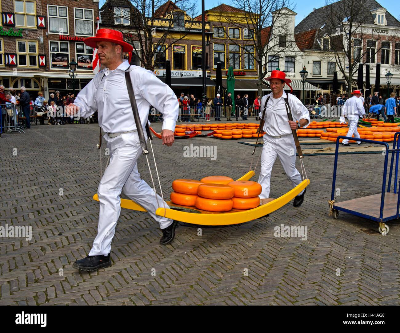 Formaggio portanti con formaggio truckles su una barella in legno presso il mercato del formaggio di Alkmaar, Paesi Immagini Stock