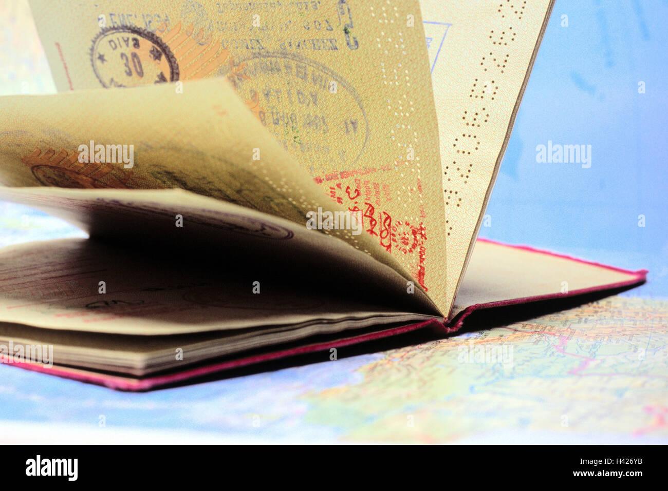 Passaporto, panna, entrata timbri, pass, carta d\'identità, la prova ...