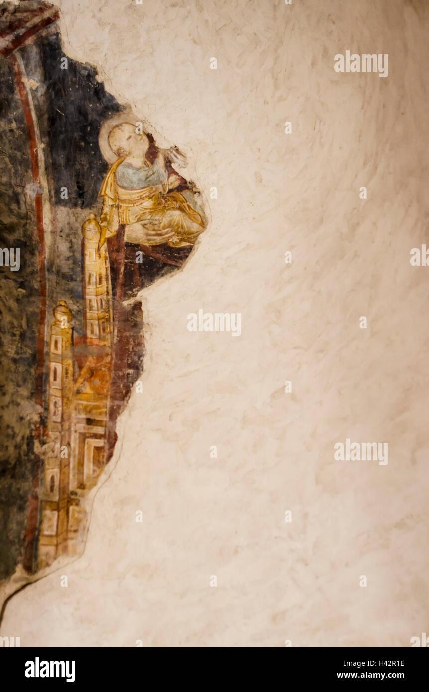 Parte di un antico affresco su una parete Immagini Stock