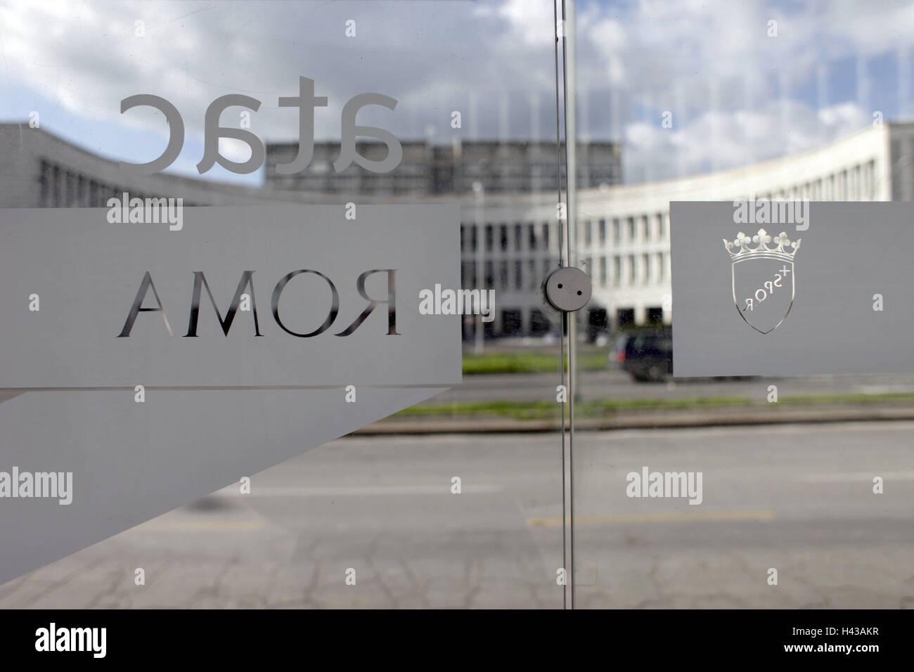 Italia, Roma, Esposizione Universale di Roma Tu, ATAC, porta di vetro, Immagini Stock