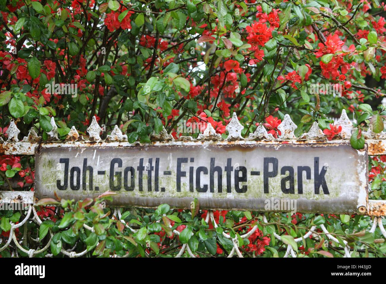 Germania, Svizzera Sassone, Rammenau, edificio del castello, parco, segno, Joh.-Gott.-Fichte-Park, Immagini Stock