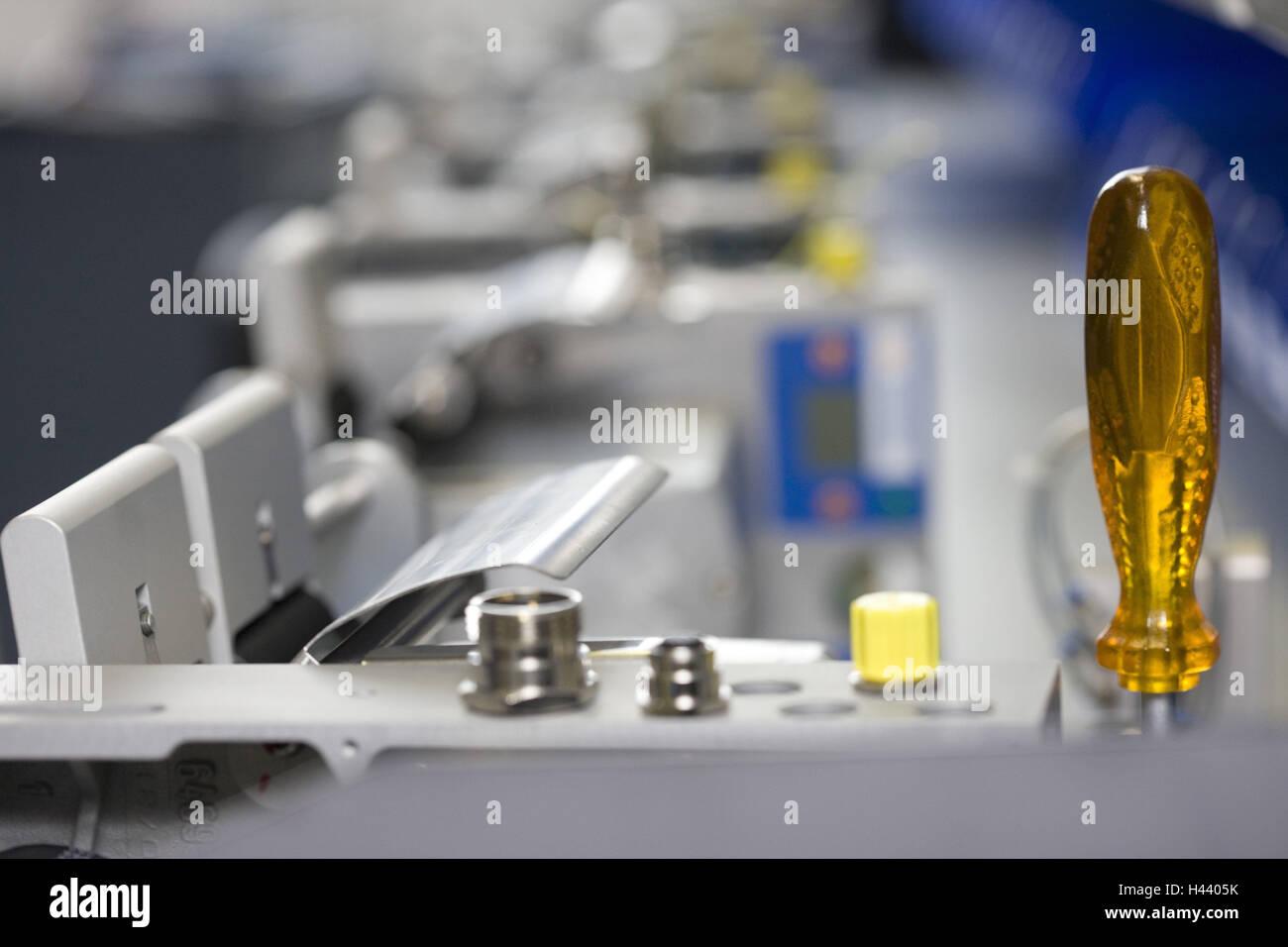 Ingegneria meccanica, il lotto di fabbricazione, editing, sfocatura, industria, macchina, le parti della macchina Immagini Stock