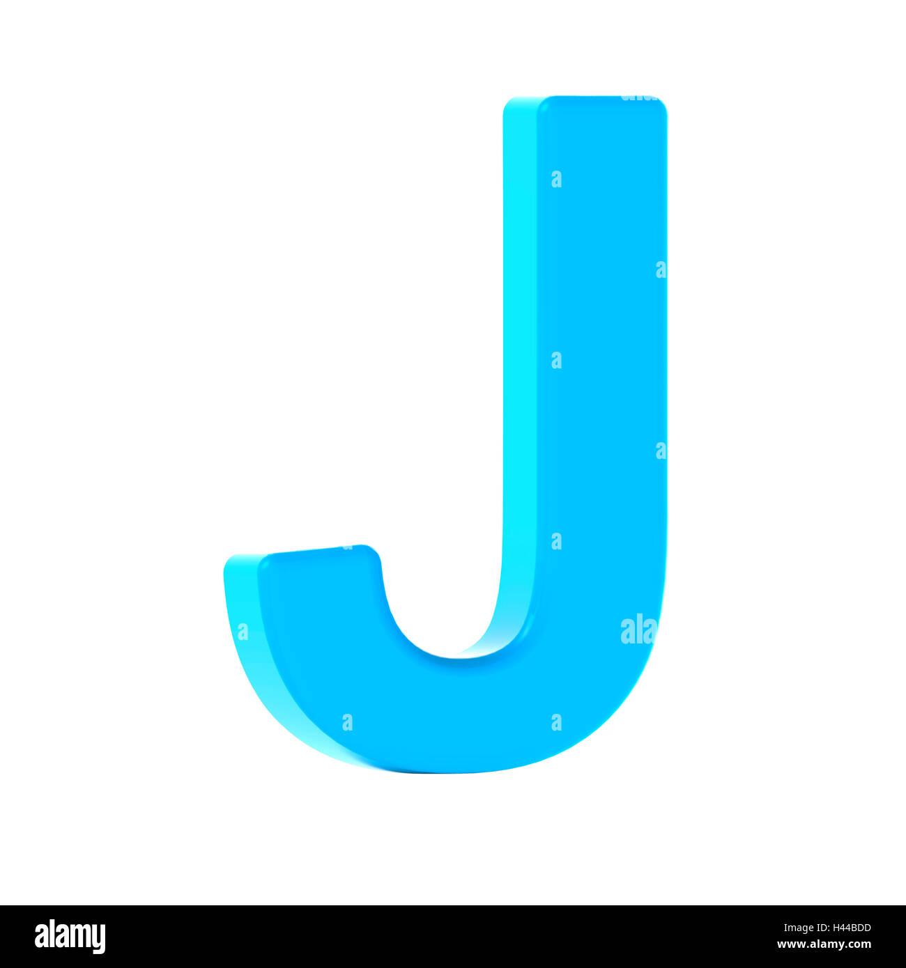 3d Inclinazione Sinistra Azzurro Lettera J Rendering 3d Graphic