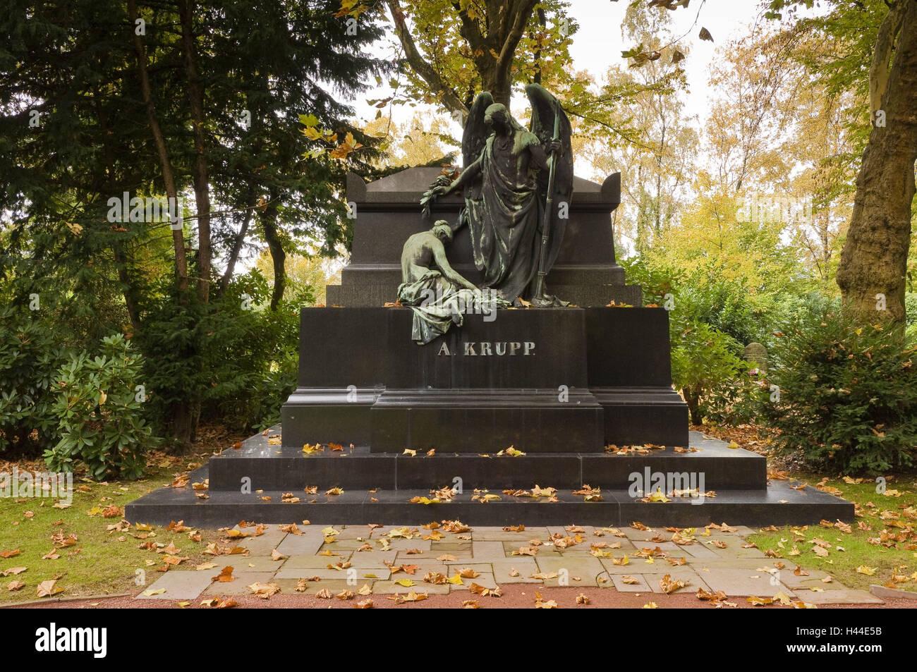 Cimitero di famiglia groppa, cimitero Bredeney, cibo, Renania settentrionale-Vestfalia, Germania, Immagini Stock