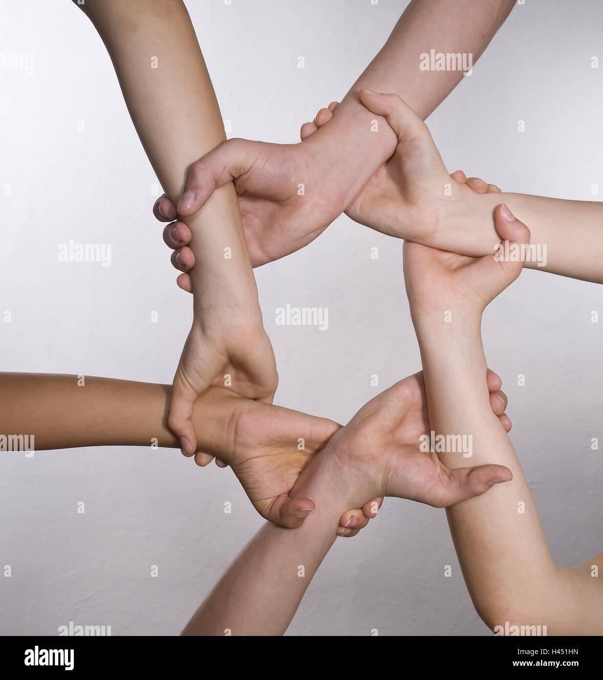 Sei mani, polsi, raggiungere, tenere premuto, cerchio, Foto Stock
