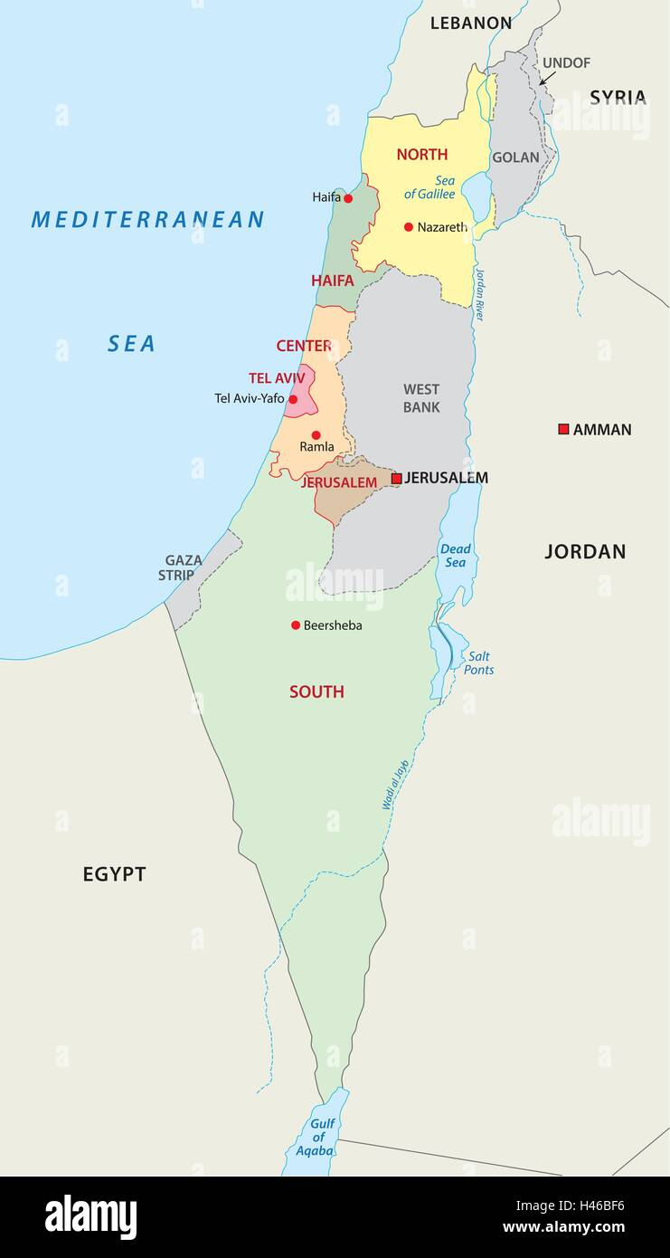 Cartina Politica Israele.Israele Politica E Amministrativa Di Mappa Immagine E Vettoriale Alamy