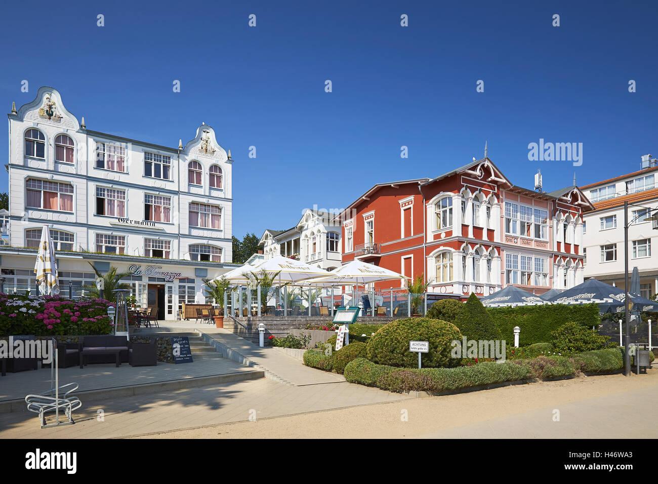 Hotel Germania e Kaiser Wilhelm sul lungomare, Baltico resort di Bansin, isola di Usedom, Meclemburgo-Pomerania, Immagini Stock