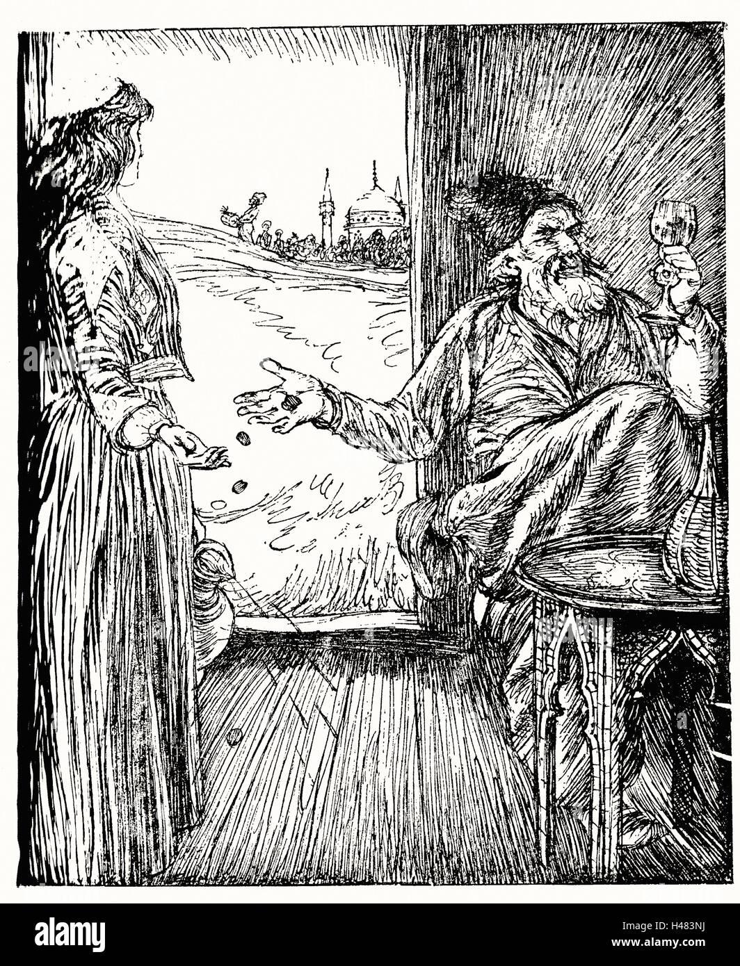 Edmund J Sullivan illustrazioni per il Rubaiyat di Omar Khayyam prima versione quartina Immagini Stock