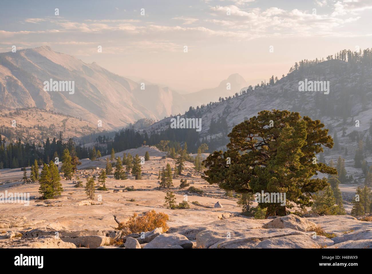 Mezza Cupola e nuvole resto montagne da Olmsted Point, Yosemite National Park, California, Stati Uniti d'America. Immagini Stock