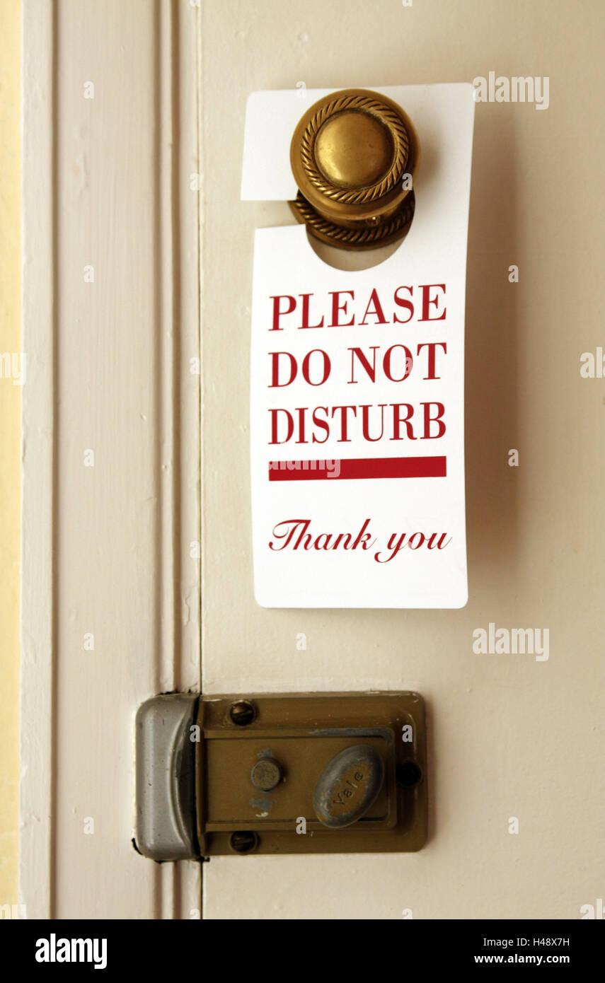 """Camera in hotel, porta, dettaglio, segno, richiesta, """"non disturbare"""" Immagini Stock"""