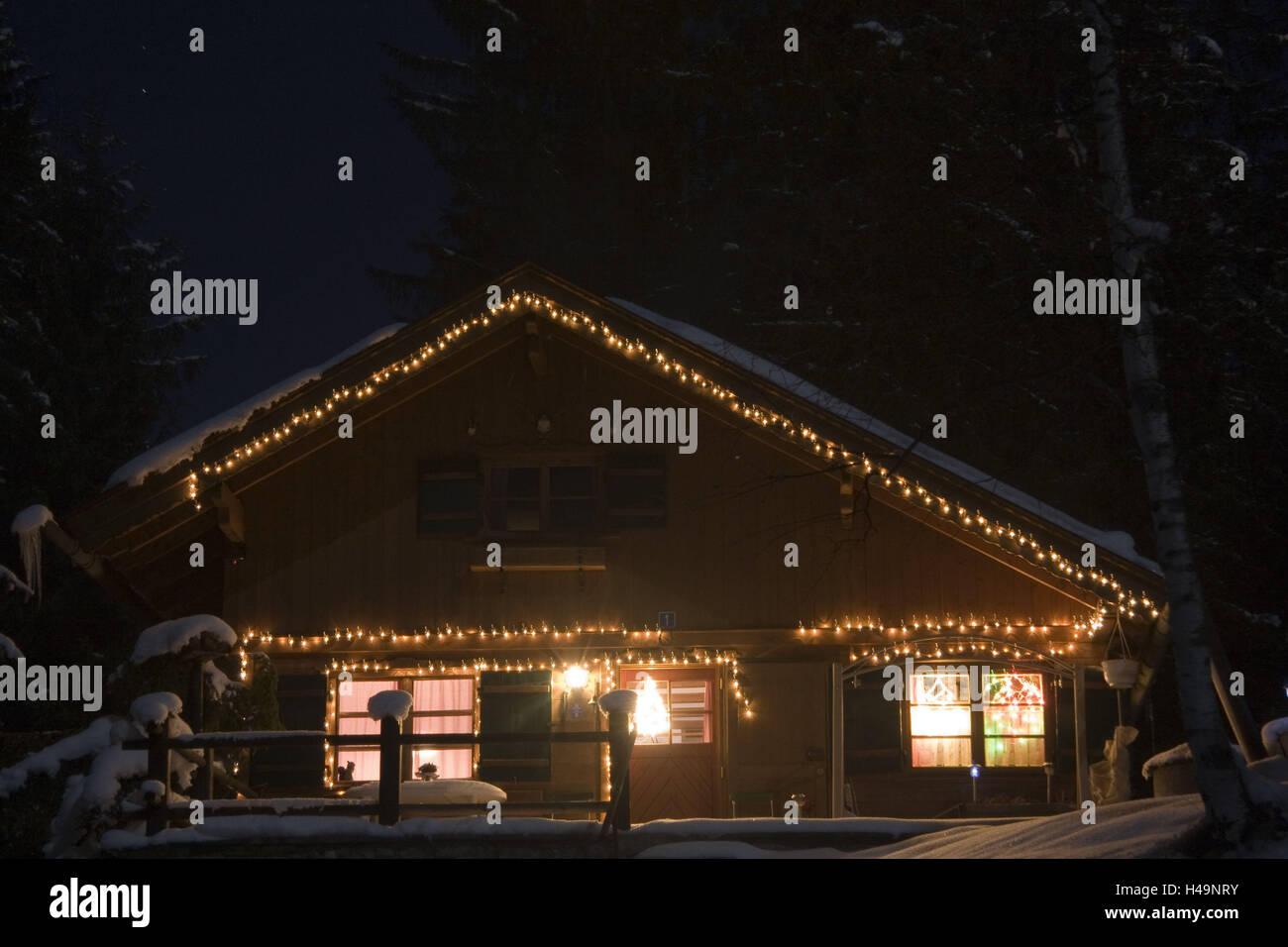 Casa della casa di luci di natale immagine stock immagine di