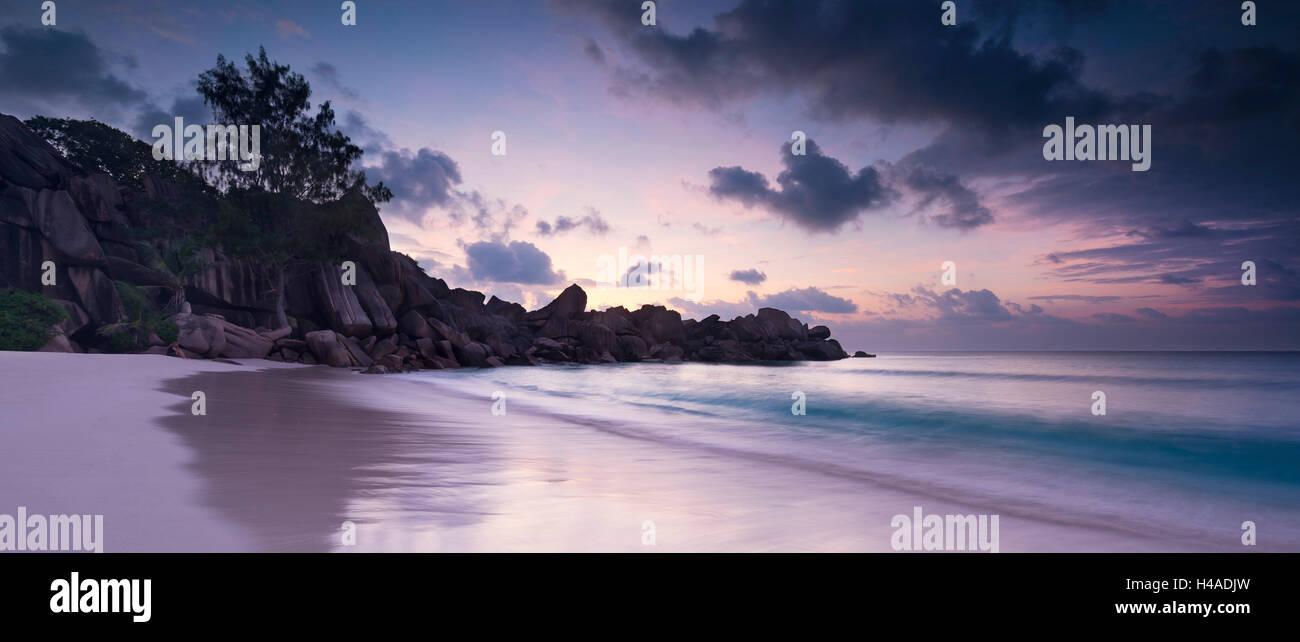 Seychelles, La Digue, Oceano Indiano, Grand Anse, sogno spiaggia, Immagini Stock