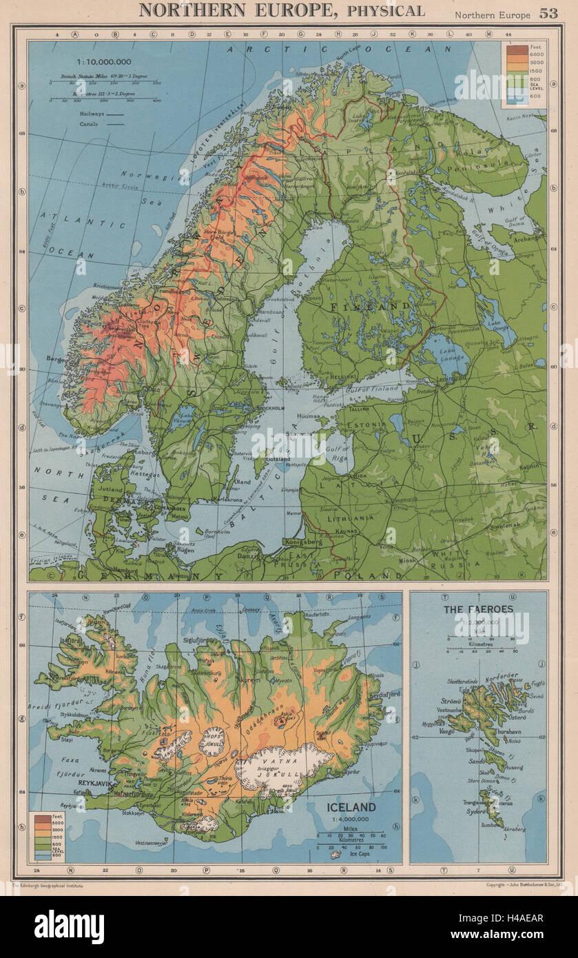 Cartina Geografica Norvegia Fisica.La Scandinavia Fisica Norvegia Svezia Danimarca Finlandia 1940 Frontiere 1944 Mappa Foto Stock Alamy