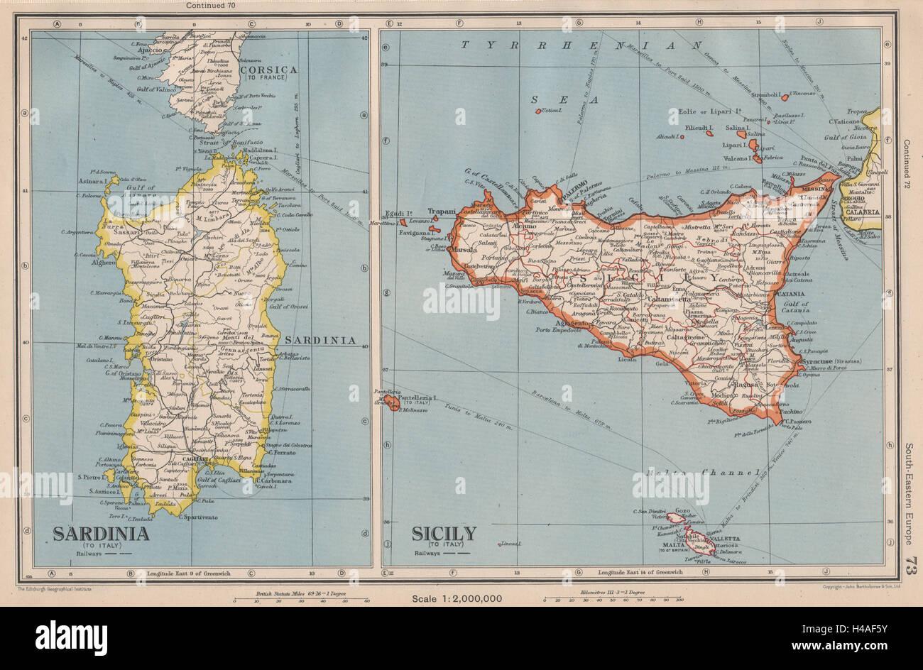 Isole Sardegna Cartina.L Italia La Sicilia E La Sardegna Sardegna Isole Eolie Bartolomeo 1944 Mappa Vecchia Foto Stock Alamy