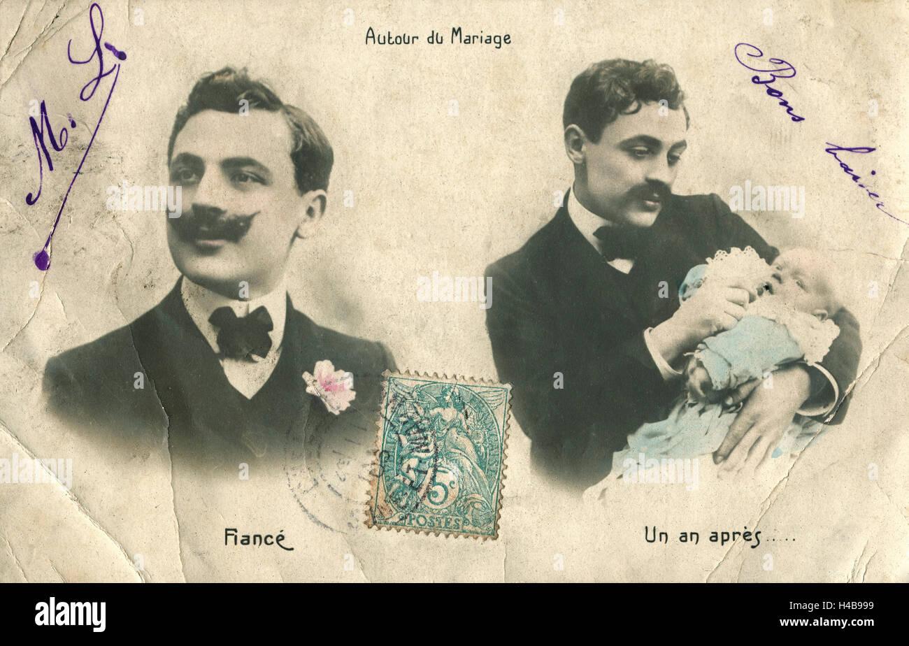 Cartolina, storico, uomo, fidanzato, Wedding, padre, baby Immagini Stock