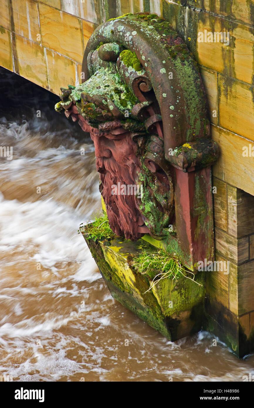 Hannover, fiume Leine, ponte, figura, dettaglio Immagini Stock
