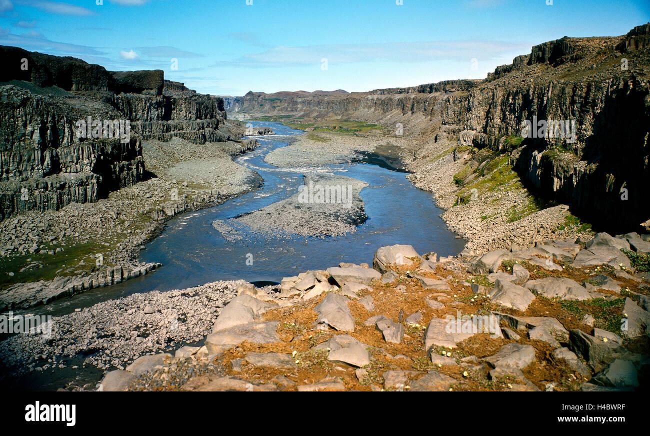Canyon mozzafiato, glacier river, Joekulsa un Fjoellum, erosione, paesaggio naturale, Nord Islanda Islanda Immagini Stock
