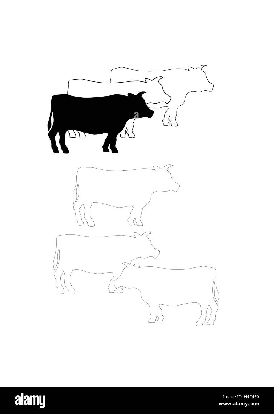 Mucche stupite Immagini Stock