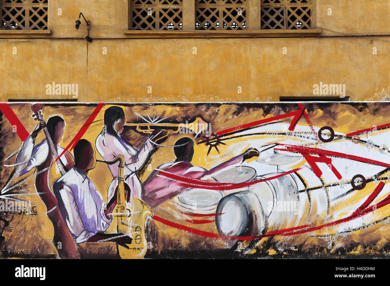 """Un dettaglio di una musica-murale ispirato al """"Fabrique Culturelle des Anciens macelli de Casablanca"""". Immagini Stock"""