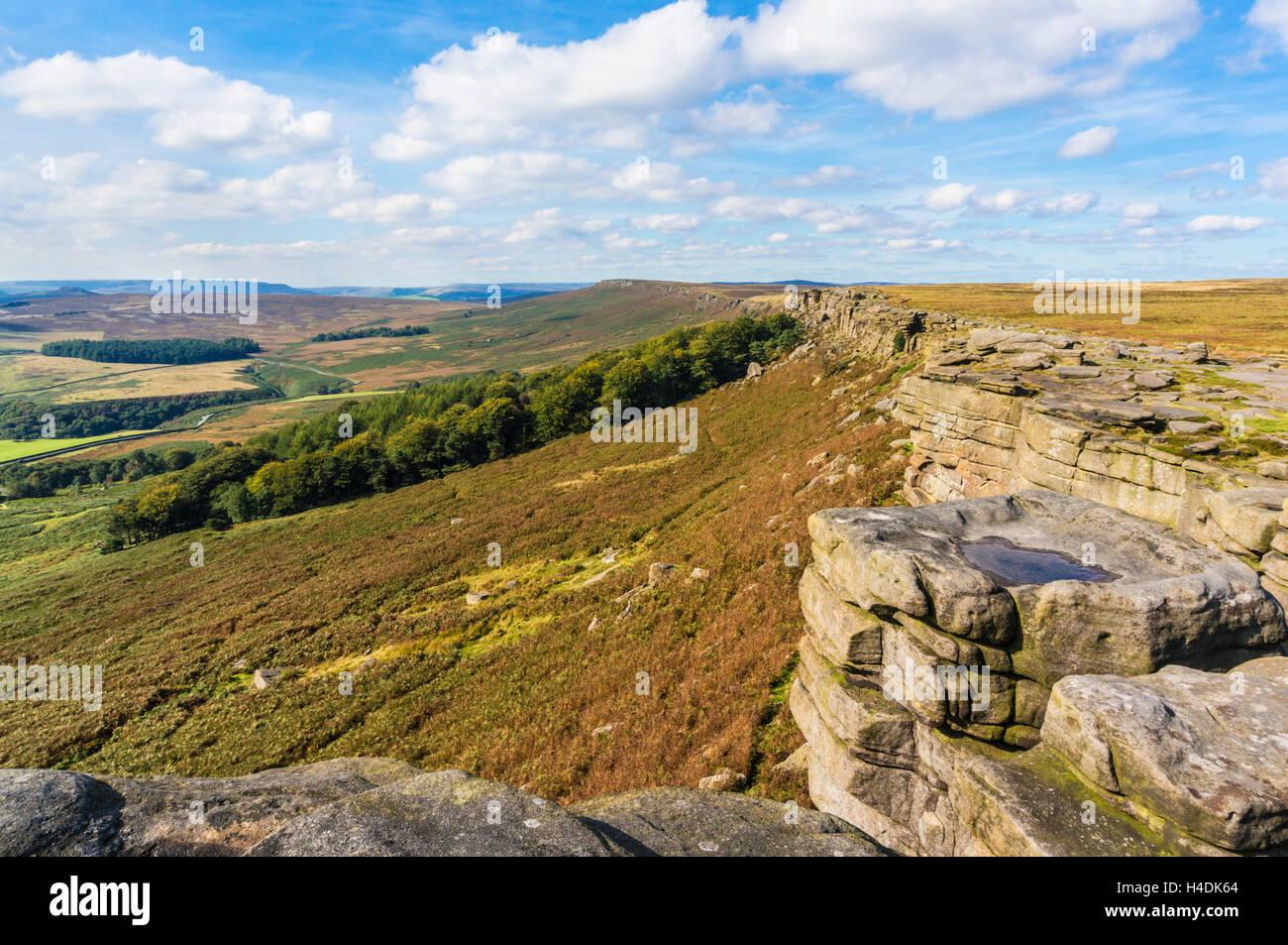 Bordo Stanage Peak District Derbyshire England Regno Unito GB EU Europe Immagini Stock