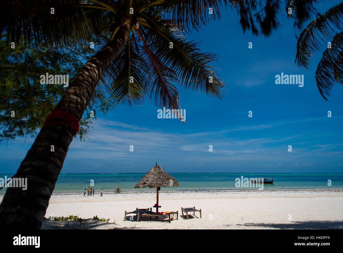 Spiaggia da sogno con Bwejuu, Zanzibar Immagini Stock